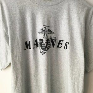 Vintage Graphic Tee Shirt Marines Gray Size XL